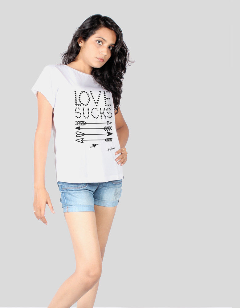 Love Sucks - White Women's Random Short Sleeve Printed T Shirt Model Half Front View