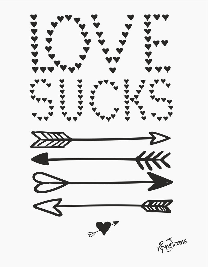 Love Sucks - White Women's Random Short Sleeve Printed T Shirt  Design View