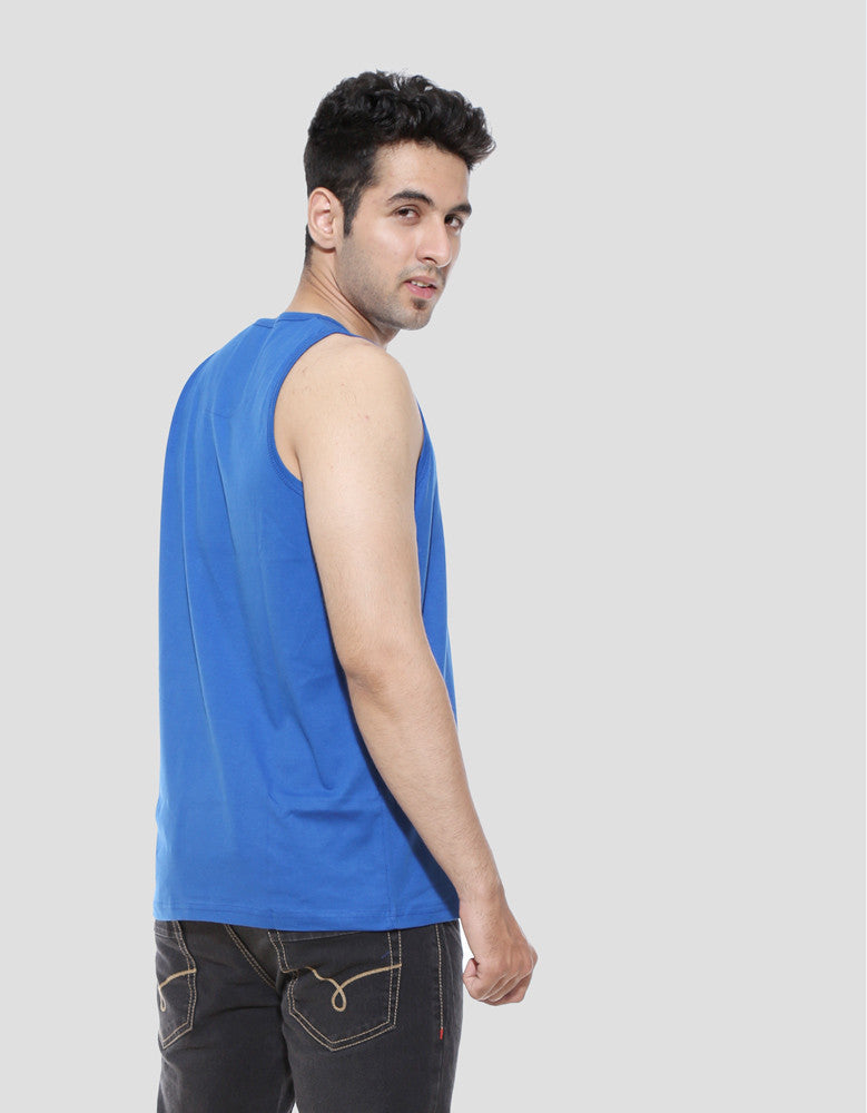 What A Lovely Day - Royal Blue Men's Sleeveless Trendy Vest Model Side View