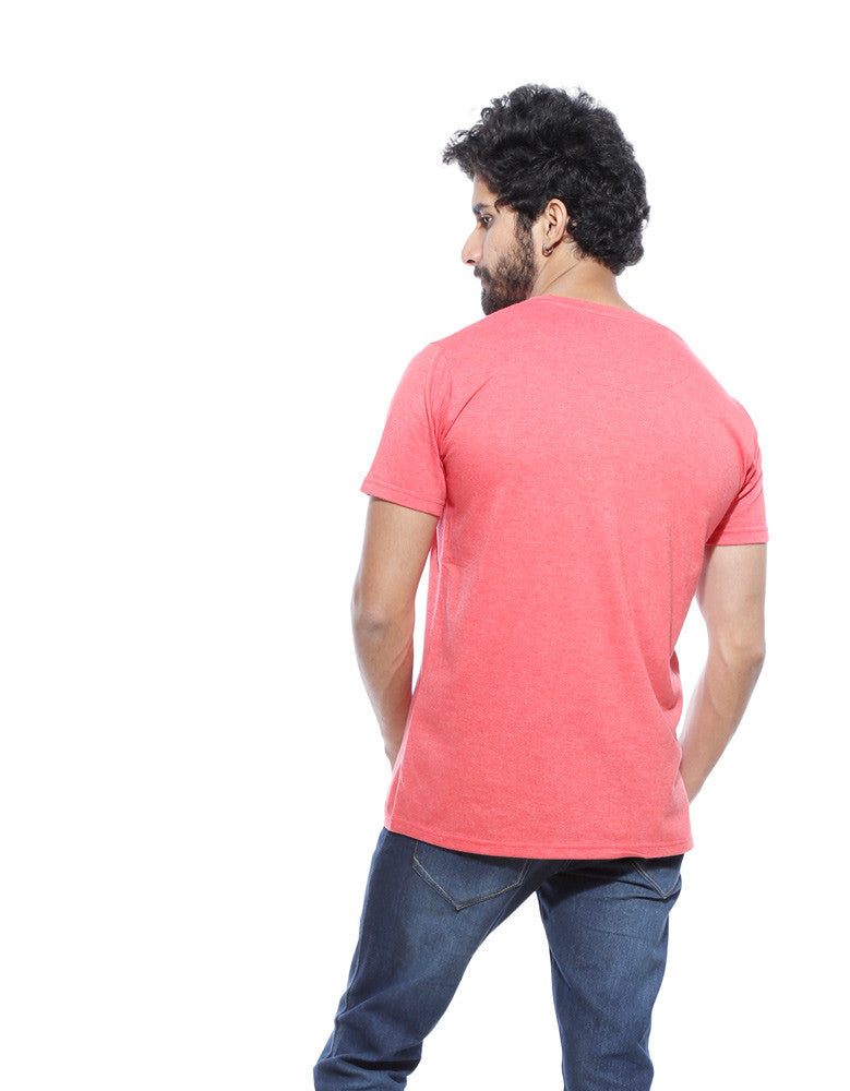 What A Lovely Day - Red Melange Men's Half Sleeve Trendy T Shirt Model Back View