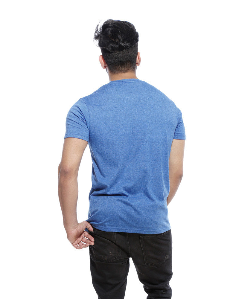 What A Lovely Day - Blue Melange Men's Half Sleeve Trendy T Shirt Model Back View