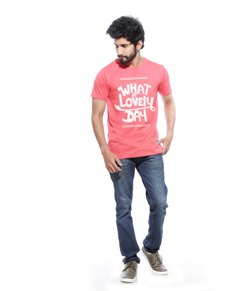 What A Lovely Day - Red Melange Men's Half Sleeve Trendy T Shirt Model Full Front View