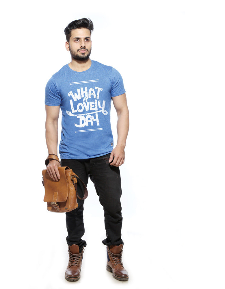 What A Lovely Day - Blue Melange Men's Half Sleeve Trendy T Shirt Model Full Front View