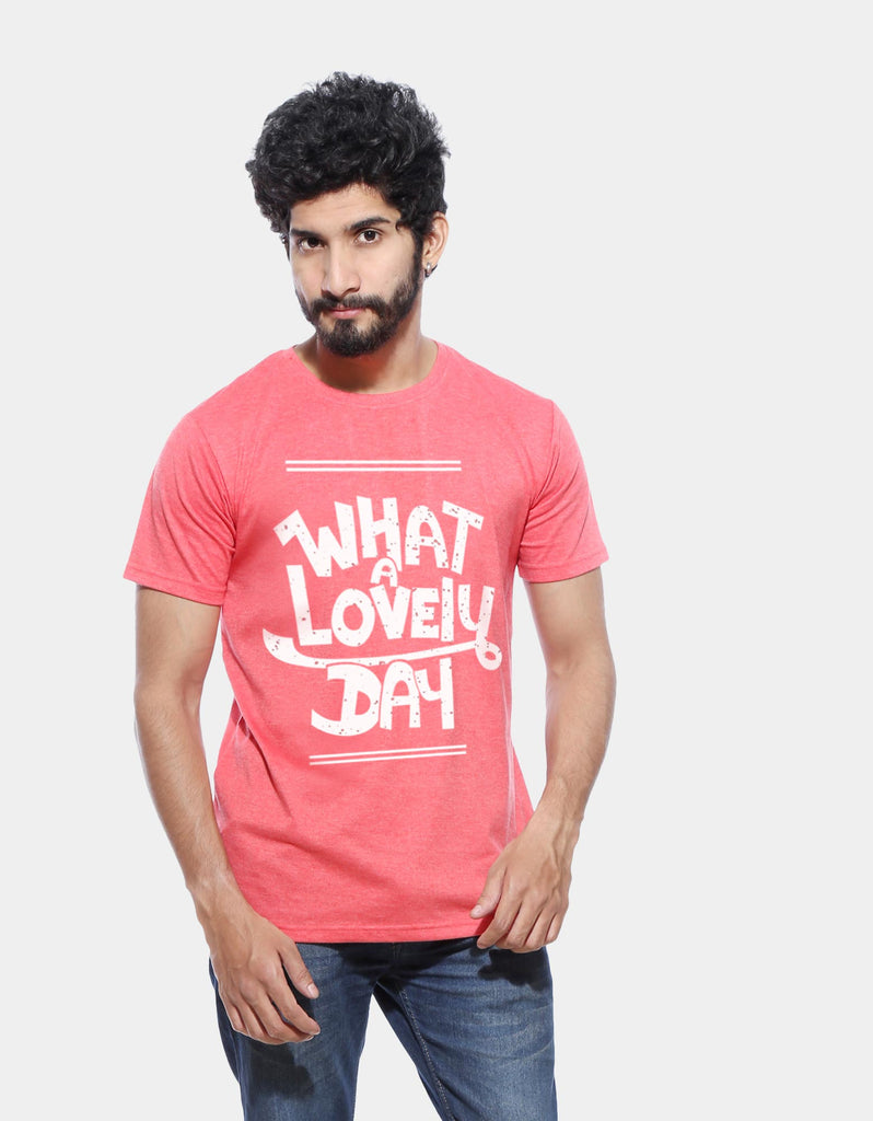 What A Lovely Day - Red Melange Men's Half Sleeve Trendy T Shirt Model Front View