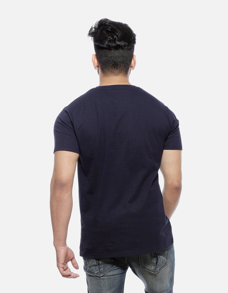 Mai Tera Boyfriend - Navy Blue Men's Half Sleeve Trendy T Shirt Model Back View