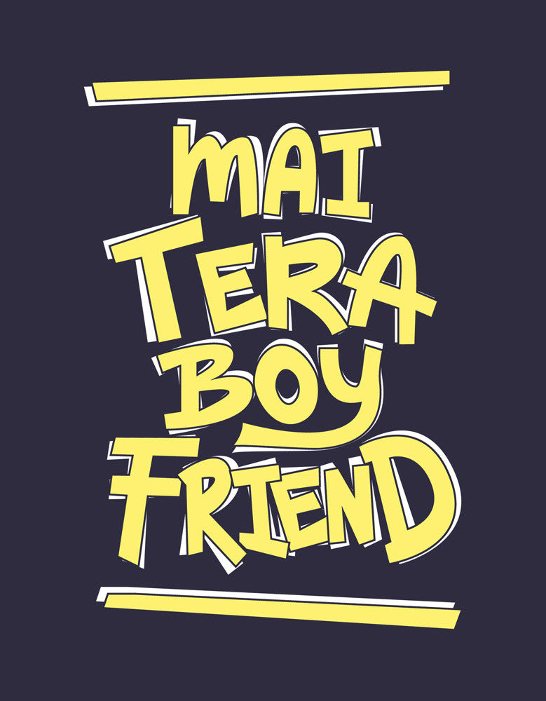 Mai Tera Boyfriend Navy Blue Men's Funny Graphic Half Sleeve T shirt