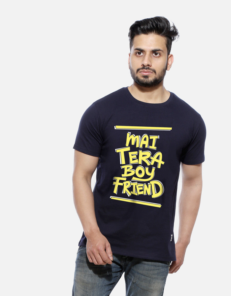 Mai Tera Boyfriend - Navy Blue Men's Half Sleeve Trendy T Shirt Model Front View