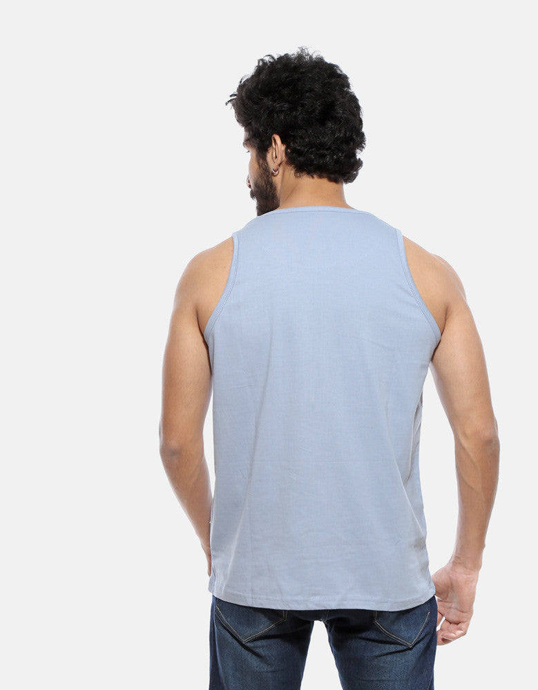 Steel - Yale Blue Men's Superhero Sleeveless Cool Vest Model Back View