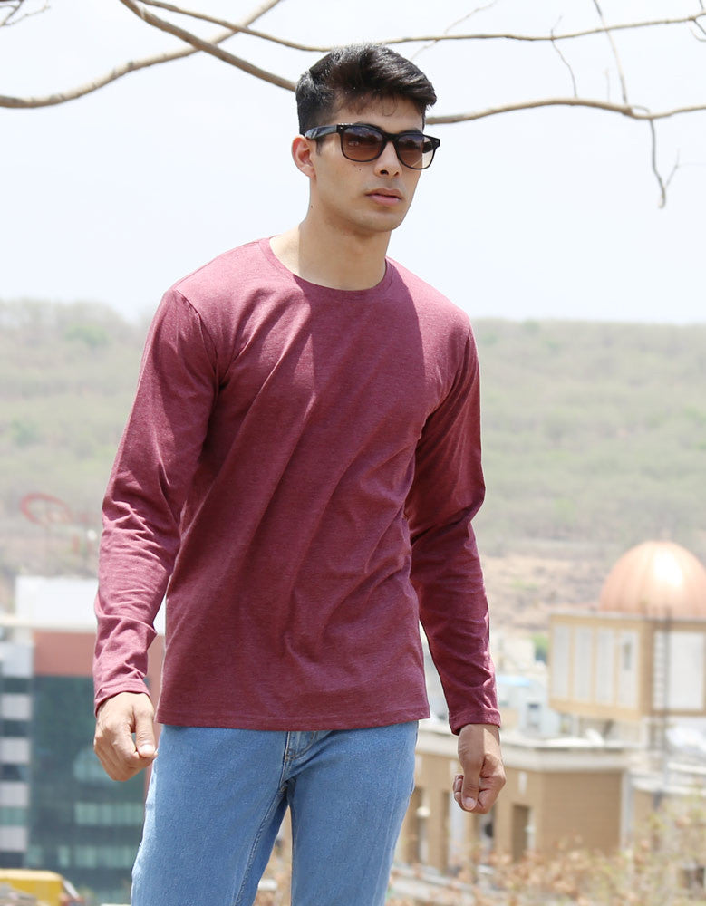 Maroon Red Melange - Men's Plain Full Sleeve Casual T Shirt Model Front Half View