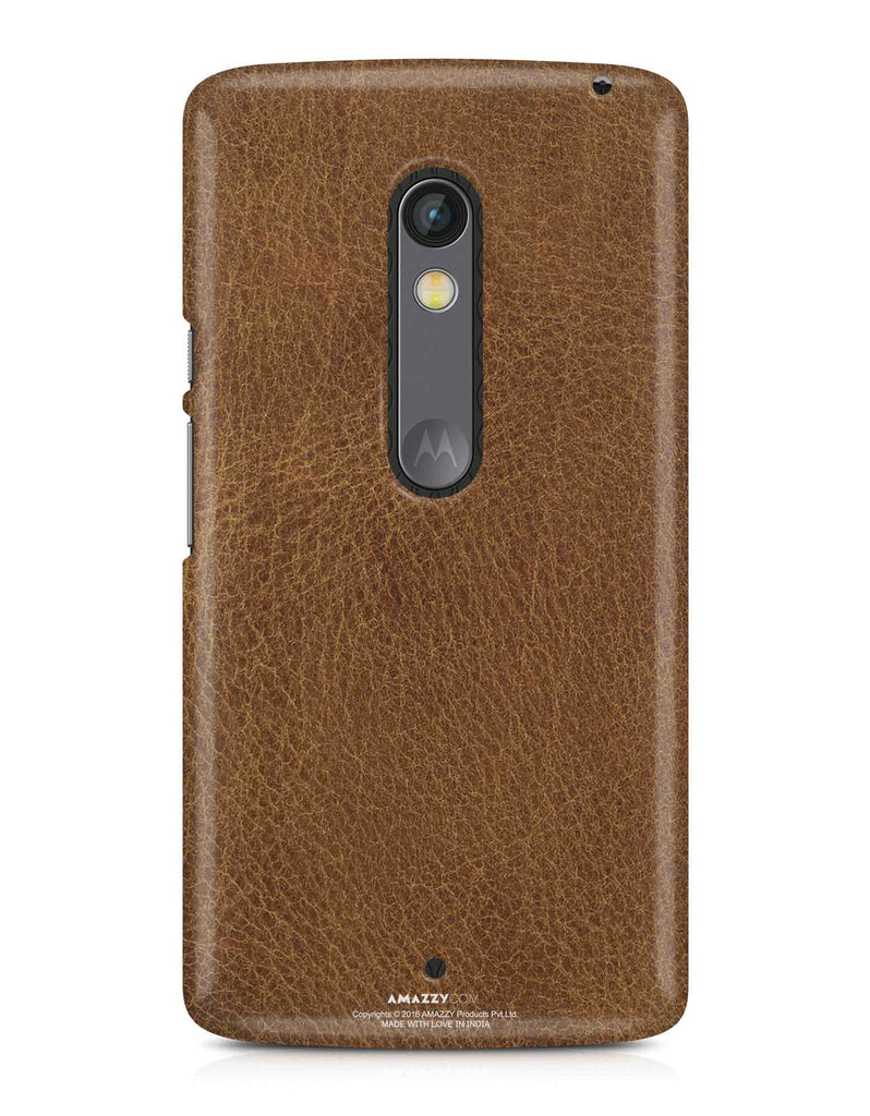 Brown Leather Texture - Moto X Play Phone Cover View