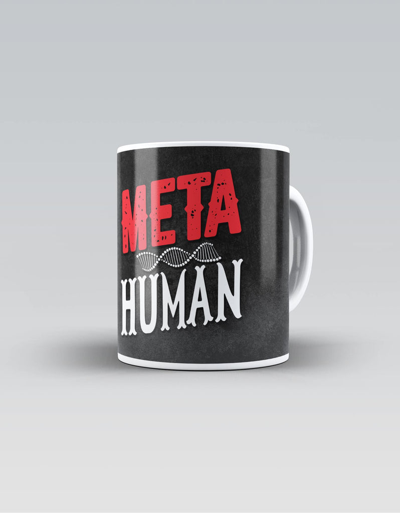 Meta Human - Black Superhero Ceramic Mug Front View