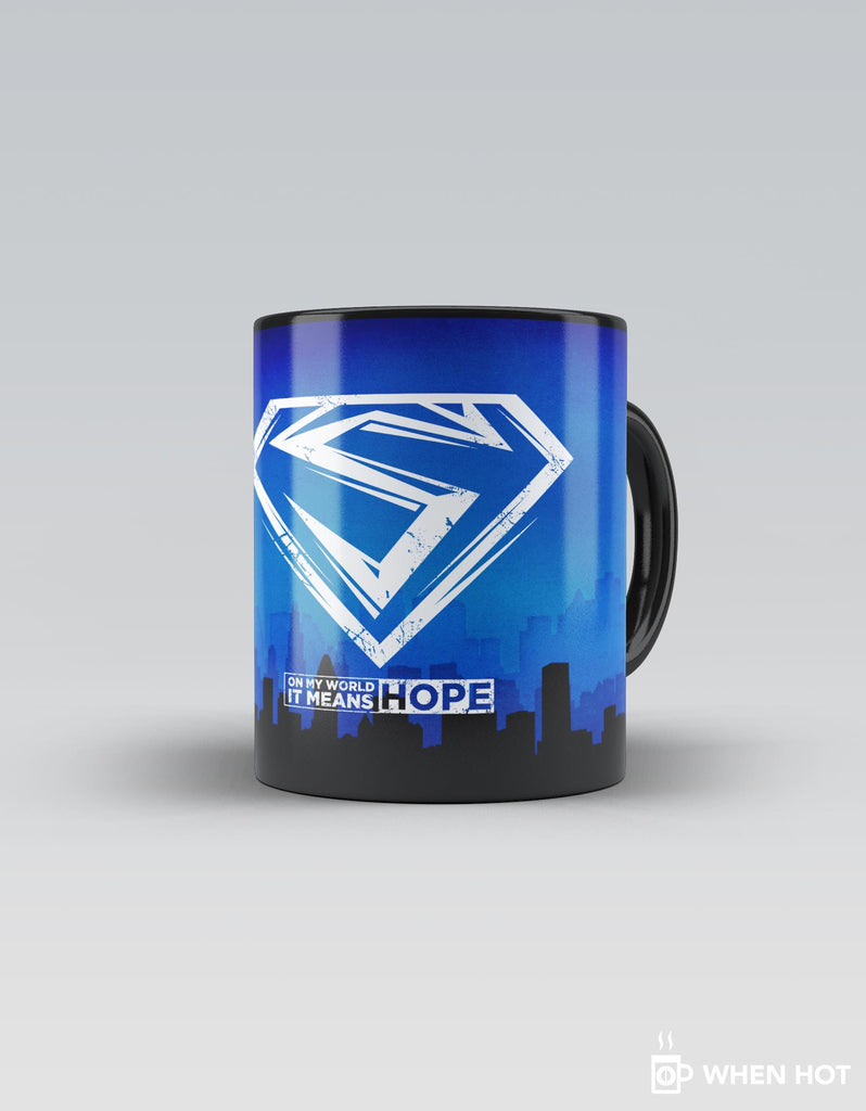 Hope - Blue Superhero Magic Mug Front view