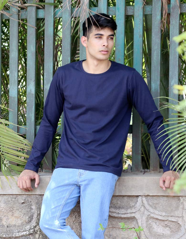 Navy Blue - Men's Plain Full Sleeve Casual T Shirt Model Front View