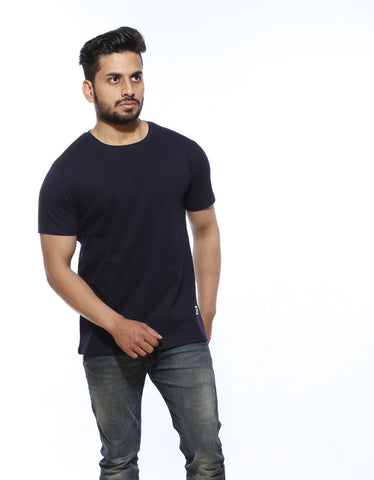 Navy Blue - Men's Plain Half Sleeve Casual T Shirt Model Front Half View