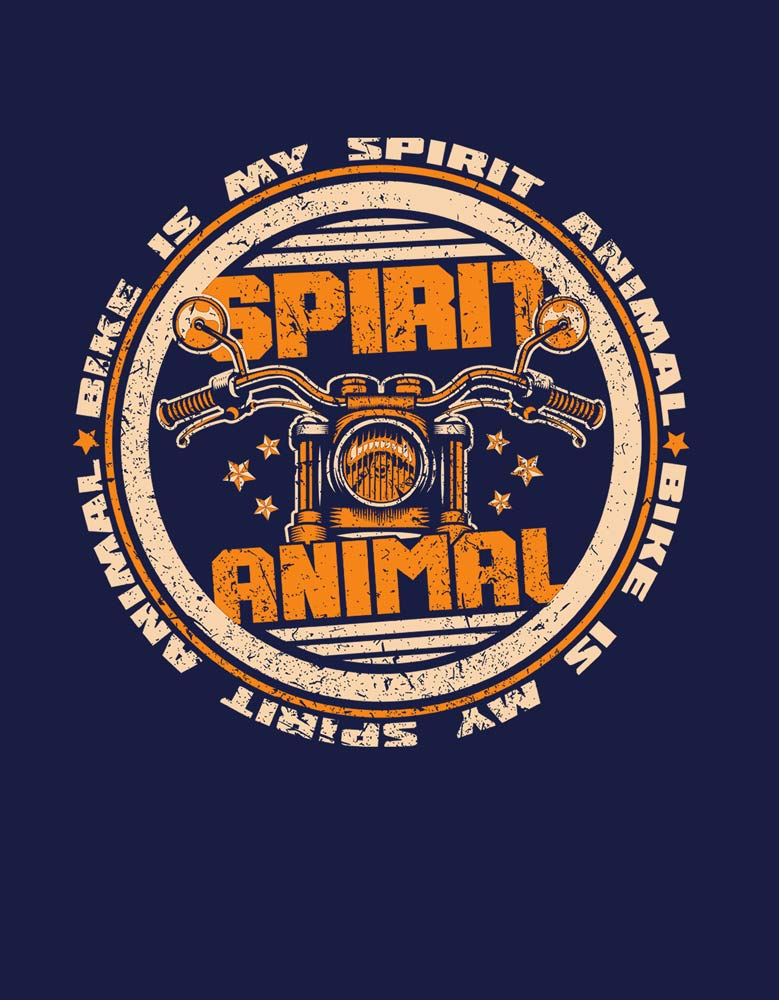 Spirit Animal - Navy Blue Biker Men's Half Sleeve T shirt