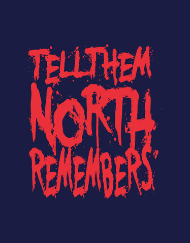 North Remembers - Navy Blue Men's TV Series Inspired Half Sleeve Trendy T Shirt Design View