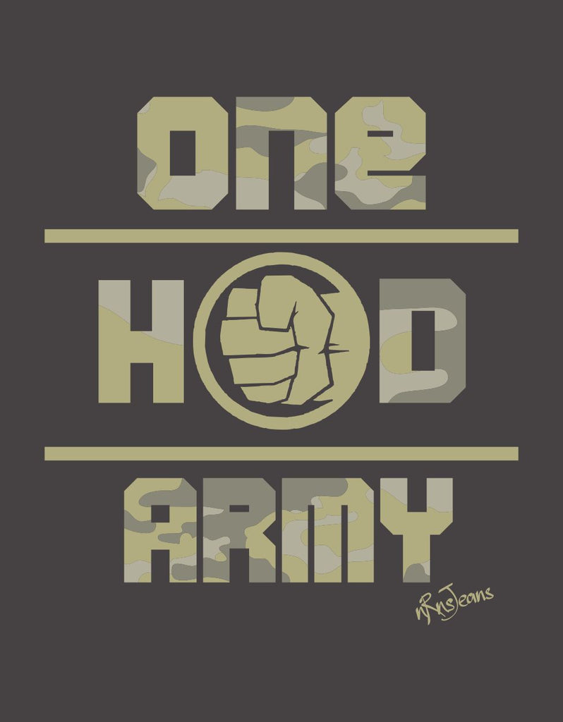 One Hand Army - Melange Charcoal Men's Half Sleeve Graphic T Shirt Design View