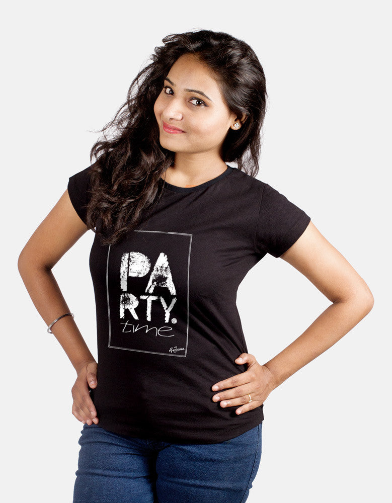 Party Time -  Black Women's Random Short Sleeve Printed T Shirt Model Front View
