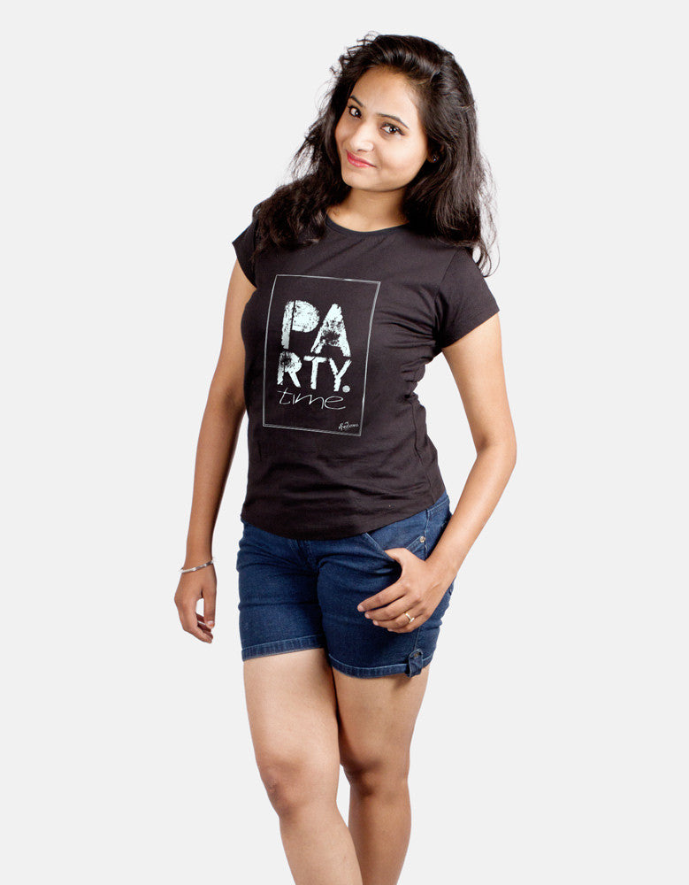 Party Time -  Black Women's Random Short Sleeve Printed T Shirt Model Half Front View