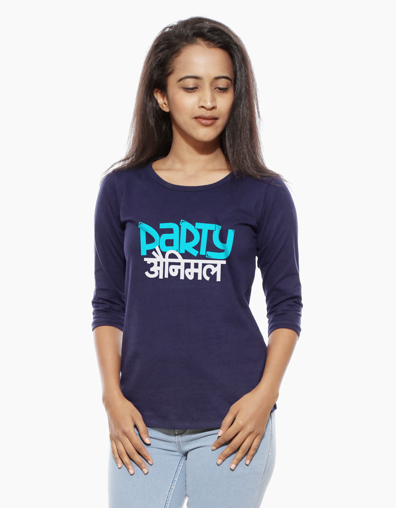 Party Animal - Navy Blue Women's 3/4 Sleeve Graphic T Shirt