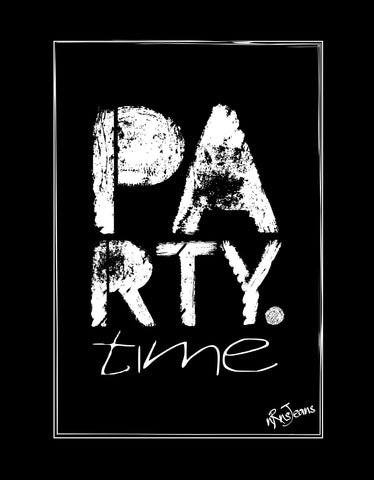 Party Time -  Black Women's Random Short Sleeve Printed T Shirt Design View