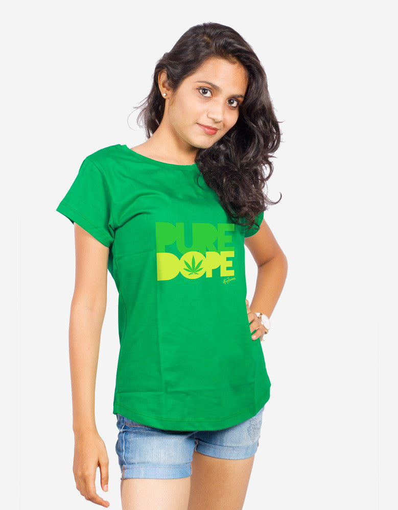 Pure Dope - Green Women's Random Short Sleeve Printed T Shirt Model Front View