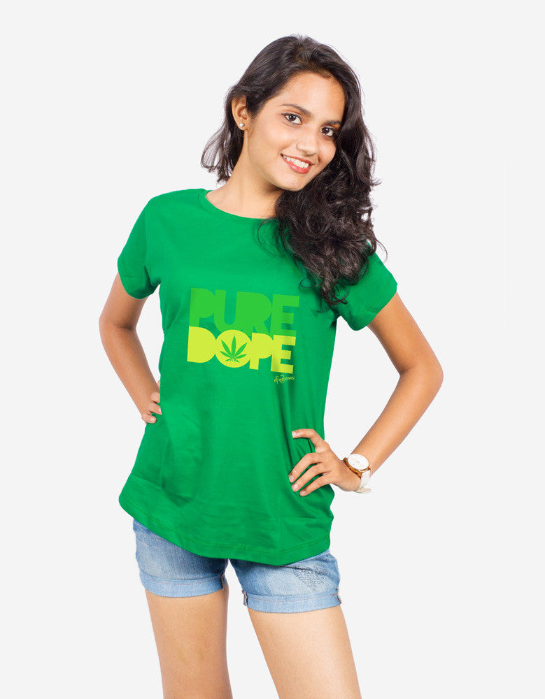 Pure Dope - Green Women's Random Short Sleeve Printed T Shirt Model Front Half View