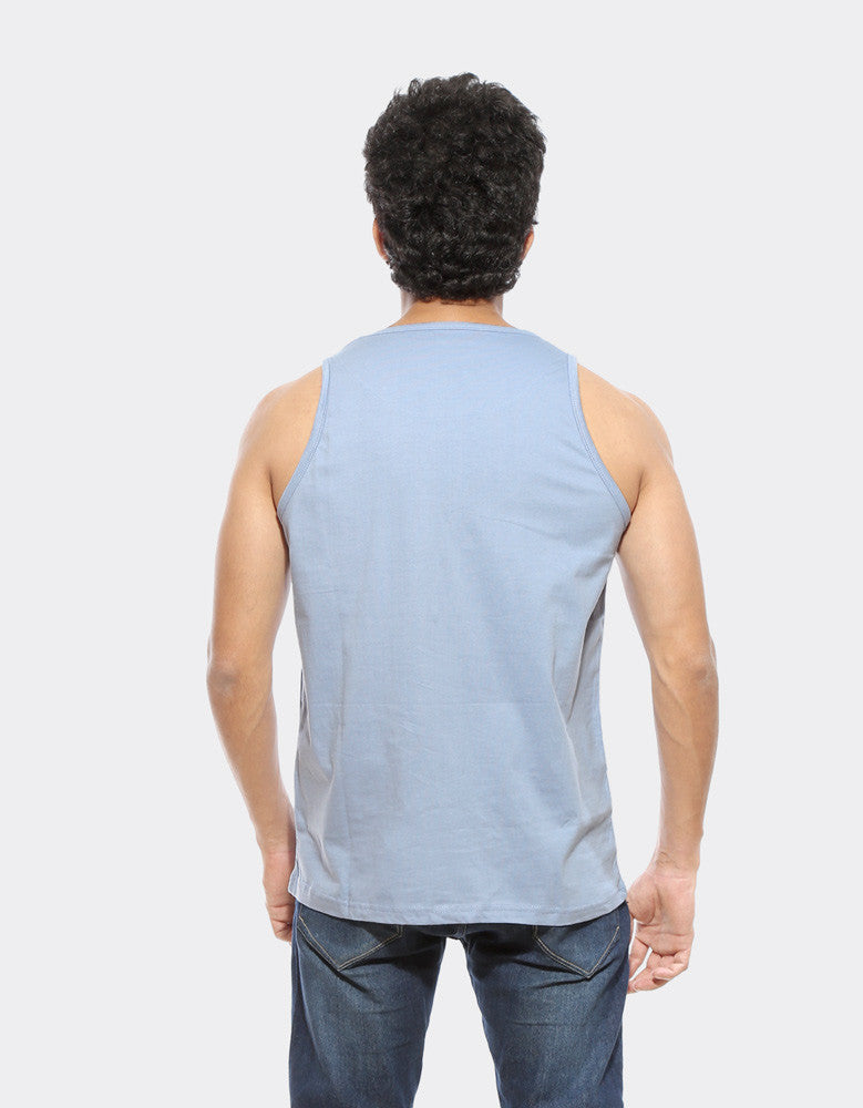 Push Up N Down - Yale Blue Men's Gym Sleeveless Graphic Vest Model Back View