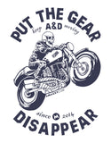 Put Gear And Disappear -  White Men's Full Sleeve Biker Funky T Shirt Design View