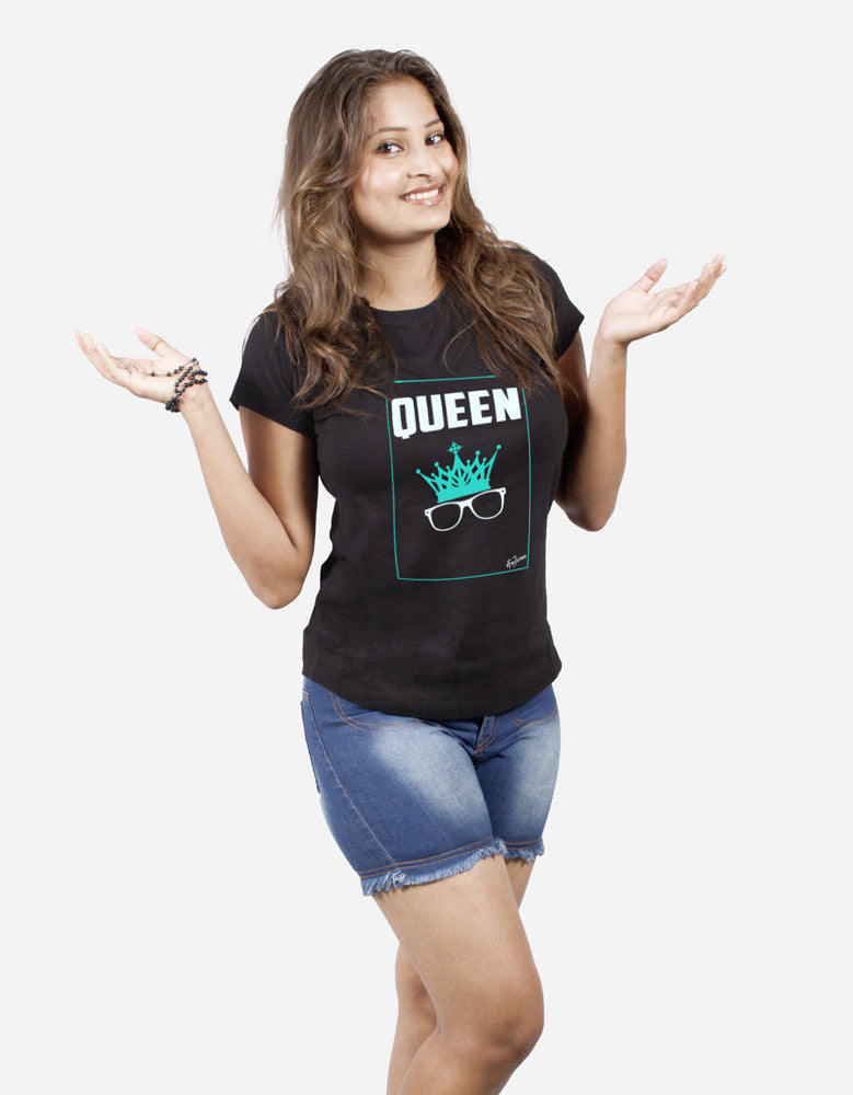 Queen - Black Women's Random Short Sleeve Graphic T Shirt Model Half Front View