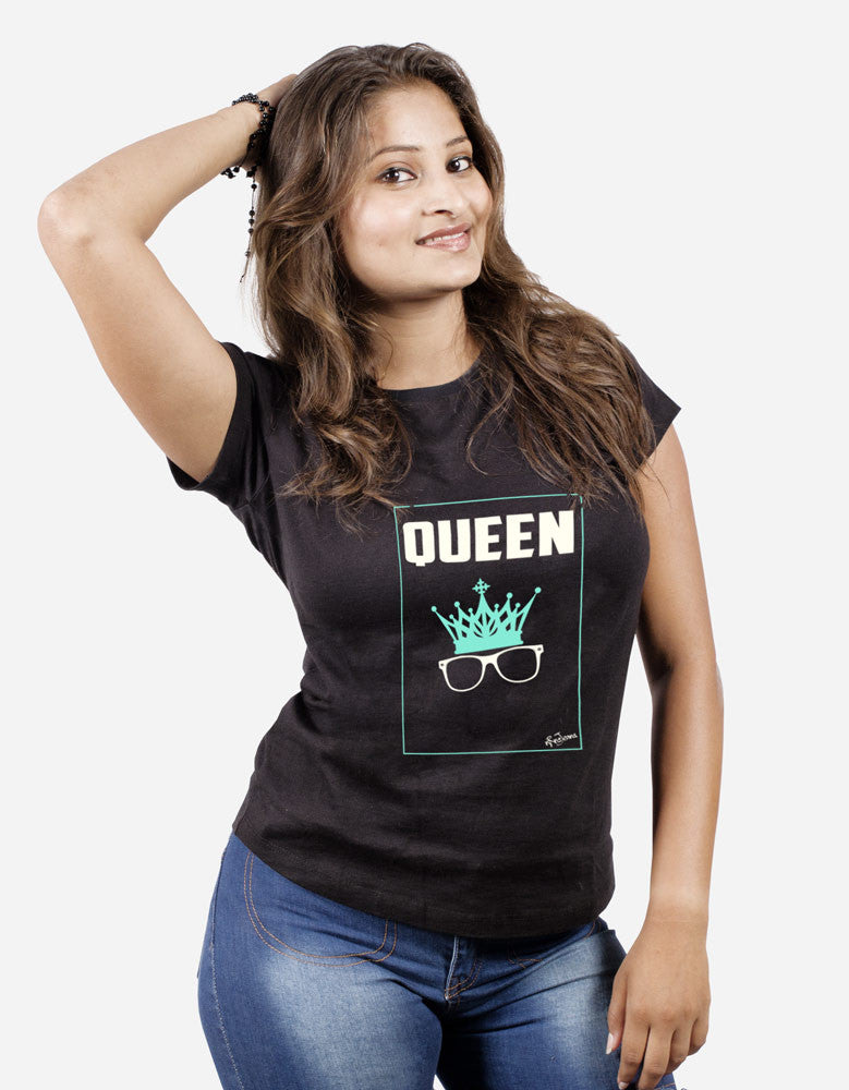 Queen - Black Women's Random Short Sleeve Graphic T Shirt Model Front View