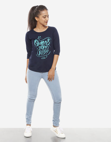 Queens Are Born In October - Navy Blue Trendy Women's 3/4 Sleeve T Shirt