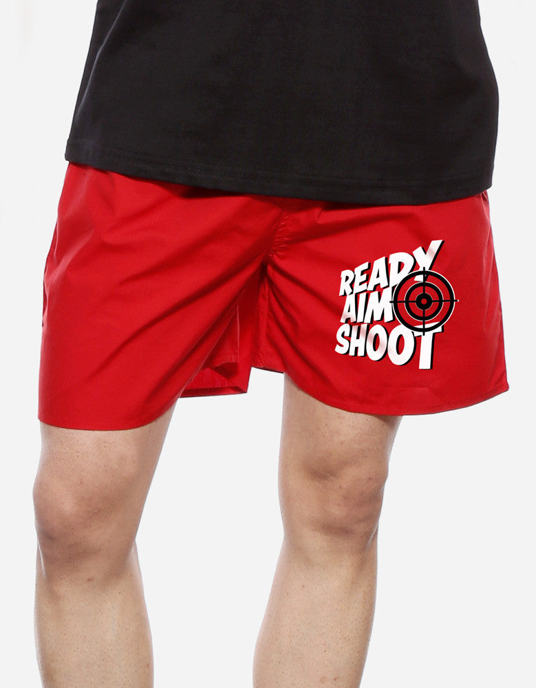 Ready Aim Shoot - Red Men's Funky Boxer Short Model Front View
