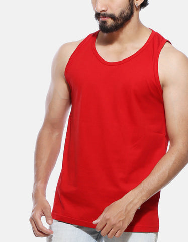 Red - Men's Plain Sleeveless Vest Model Close-Up View