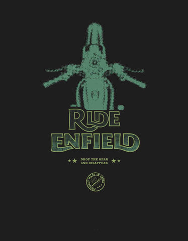 Ride Enfield -  Black Men's Full Sleeve Biker Printed T Shirt Design View