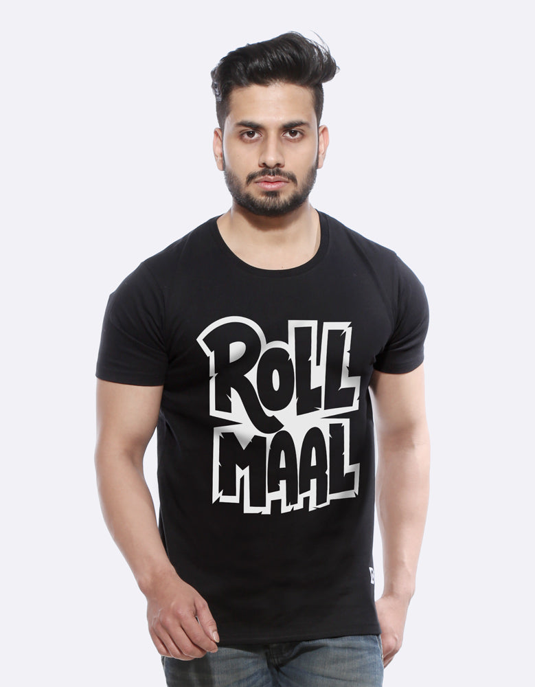 Rollmall - Black Cool Men's Half Sleeve T Shirt Model Front View