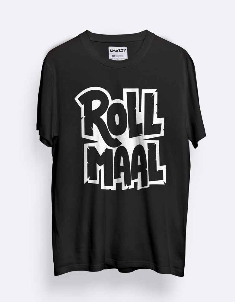 Rollmall - Black Cool Men's Half Sleeve T Shirt Mock Up View