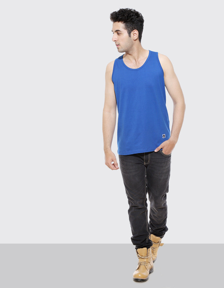 Royal Blue - Men's Plain Sleeveless Vest Model Full Front View