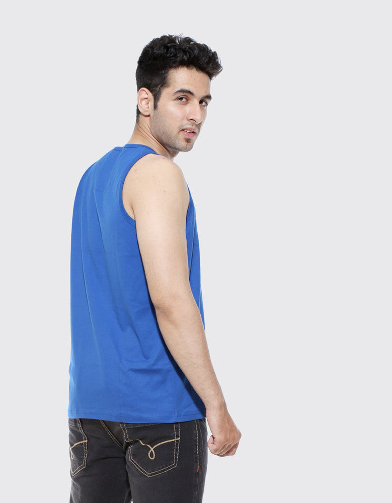 Royal Blue - Men's Plain Sleeveless Vest Model Back View