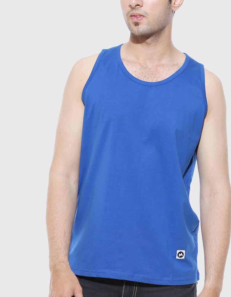 Royal Blue - Men's Plain Sleeveless Vest Model Close-Up View