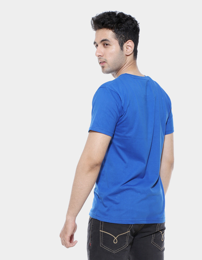 Rules -Royal Blue Designer Men's Half Sleeve T Shirt Model Back View