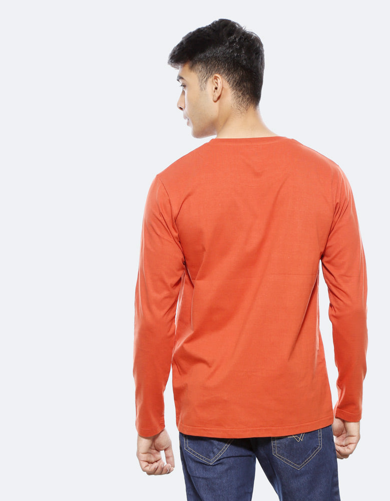 Rules - Rust Orange Trendy Men's Full Sleeve T Shirt Model Back View