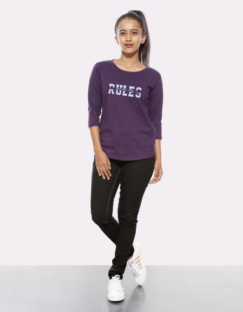Rules - Brinjal Cool Women's 3/4 Sleeve T Shirt Full View