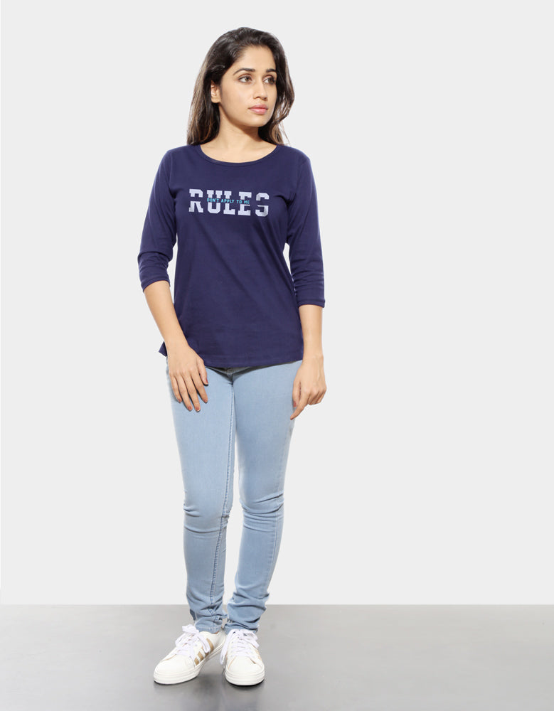 Rules - Navy Blue Cool Women's 3/4 Sleeve T Shirt Model Full Front View