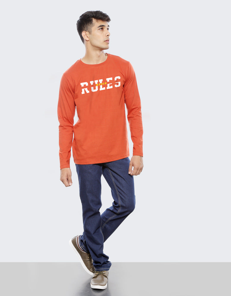 Rules - Rust Orange Trendy Men's Full Sleeve T Shirt Model Full Front View
