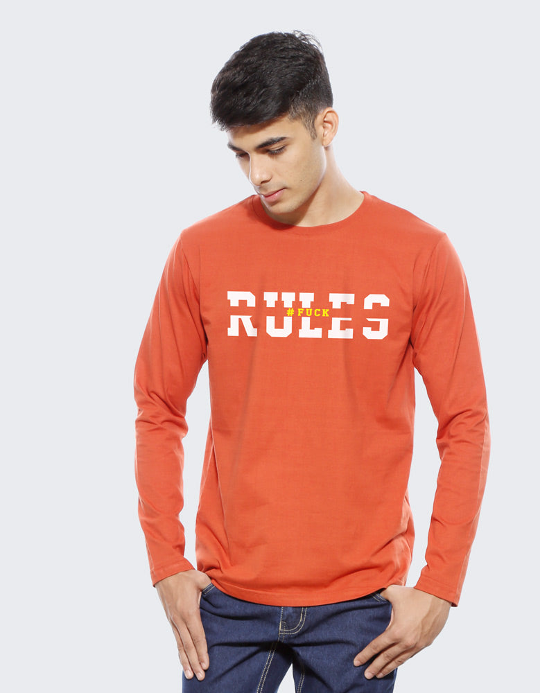 Rules - Rust Orange Trendy Men's Full Sleeve T Shirt Model Front View