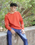 Rust Orange - Men's Plain Full Sleeve Casual T Shirt Model Front View