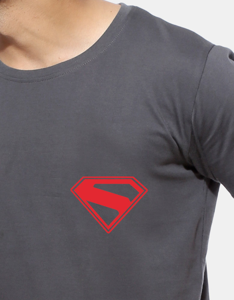 S Symbol - Charcoal Grey Men's Superhero Half Sleeve Pocket Print T Shirt Close Up View