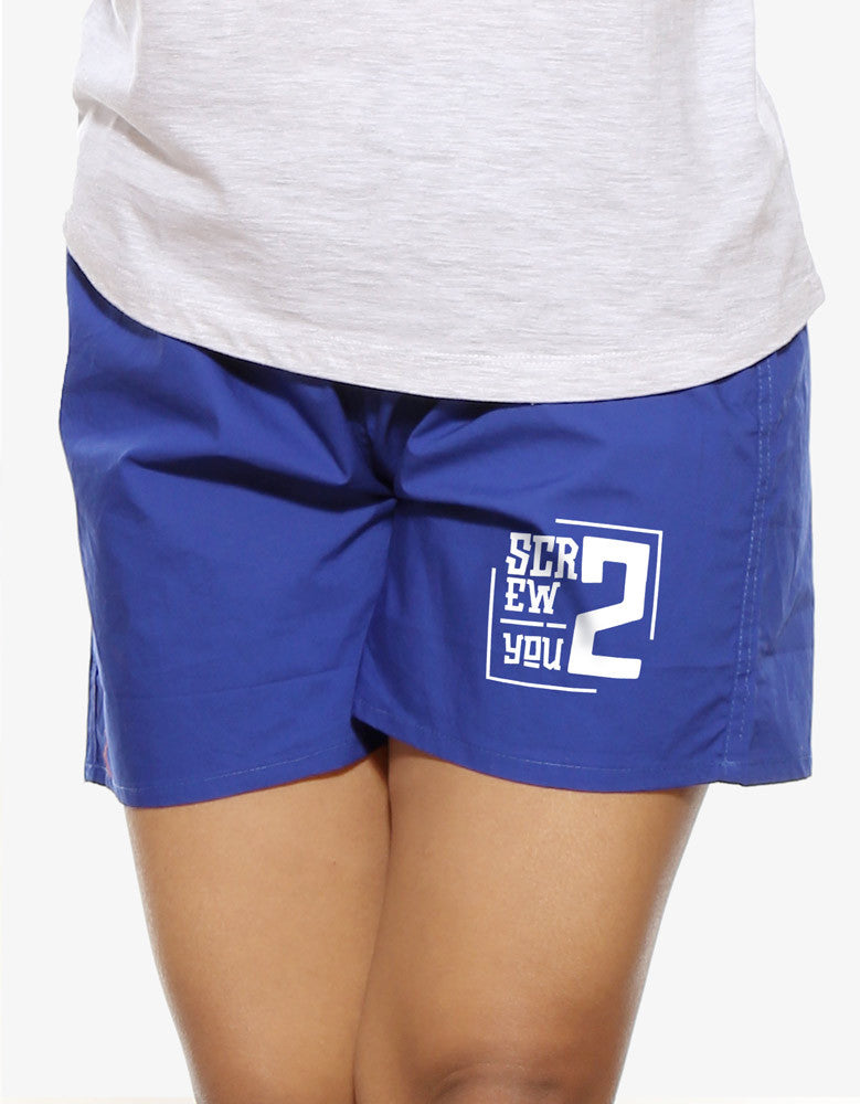 Screw You - Royal Blue Women's Graphic Boxer Short Model Front View