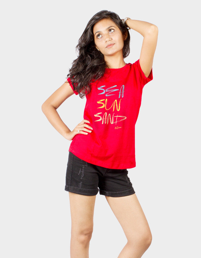 Sea Sun Sand - Red Women's Random Short Sleeve Graphic T Shirt Model Front Half View